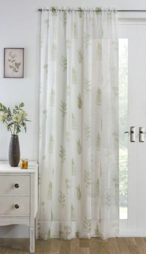 MOSS GREEN FERN  LEAF FOLIAGE  FLORAL SLOT TOP WHITE VOILE NET CURTAIN PANEL/S
